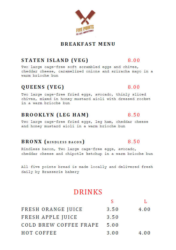 five points burgers breakfast menu